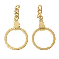Lot 1, 2 ou 5 Anneaux port cle Doré 3cm avec chainette creation bijoux, chaine