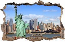 WANDAUFKLEBER Loch in der Wand 3D NEW YORK NY Wand Dekor Aufkleber Wandtattoo 06