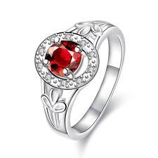1 Karat Ring Silber pl Silberring mit 12 Zirkonia Verlobungsring Liebe Herz+