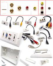 Modular FacePlate MultiMedia Wall Plate Stub HDMI SVGA USB RCA RJ45 Coax Jack