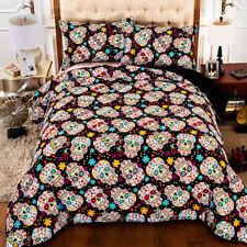 Floral Skull Duvet Cover Pillow Case Twin Queen King Quilt Cover Set Bedding Set