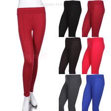 Women's Cotton Solid Plain Long Moleton Pintuck Leggings Skinny Pants S M L