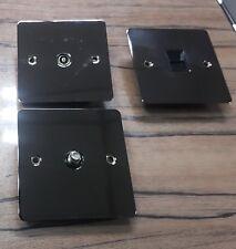 Black Nickel Telephone Master, Satellite, TV Aerial Socket,  3 Round Pin 5A