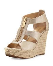 dea4c30e239a Michael Kors Damita Metallic Zip-Front Wedge Platform Sandals Gold 9.5