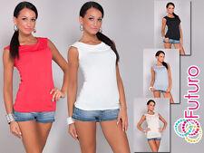 Femmes Col chemise Haut Sans Manche Tunique T-Shirt Decolleté Taille 8-12 FK1260