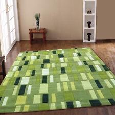 NEW LIVINGROOM SMALL MEDIUM BLOCKS HARLEQUIN DESIGN GREEN CLEARANCE ACRYLIC RUGS