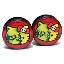 Pair Acrylic Ear Plugs Screw Fit Gauges Tunnels Earrings - Zombie Hello Kitty