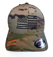 USA FLAG embroidered Tactical Official Flexfit Multicam Cap - MTP / BLACK