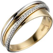 Damenring 585 Gold Gelbgold Weißgold bicolor 25 Diamanten Brillanten Goldring