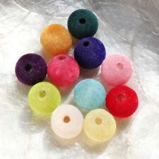 4 Perles BOULES FLOQUÉES - RONDES - 12 couleurs différentes - 14 mm Trou 3,5 mm