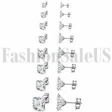 Steel Ear Stud Piercing Earrings 16pcs 3-10mm Square Cubic Zirconia Stainless