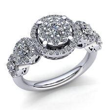 Genuine 1ctw Round Cut Diamond Ladies Cluster Halo Engagement Ring 14K Gold