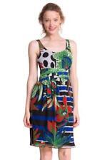 DESIGUAL Flor Vestido S-XXL 10-18 RRP £ 84 Negro Rojo Verde Floral Tropical Verano
