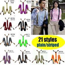 Elastic Braces Leather 6 Button Holes Stripes Unisex Suspenders Adjustable BD7-2