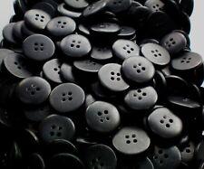 Large 20mm 32L Satin Black 4 Hole Quality Coat Jacket Craft Arts Buttons Z239