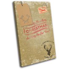 Hessian Burlap Vintage Christmas SINGLE CANVAS WALL ART Picture Print