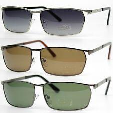 Mens Metal Frame Polarized Anti-Glare Cat.3 Lens Rectangular Sunglasses UV400