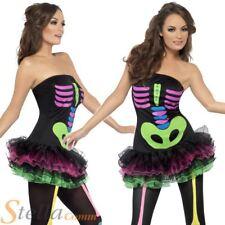 Ladies Sexy Neon Skeleton Bones Tutu Halloween Fancy Dress Costume Outfit