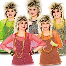 New Ladies Women 80s Style Mesh Fish Net Tops T-Shirt Fancy Dress One Size(8-12)