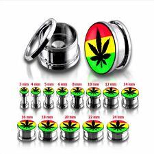Rasta Ajuste Tornillo de logotipo de hoja de marihuana oreja Tapón Camilla acero 8mm túnel piercing del cuerpo