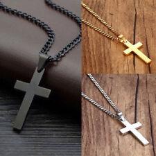 Cross Pendant Necklace Silver Stainless Steel Unisex's Chain Crucifix Men Boys