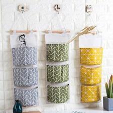 3 Pockets Wall Door Hanging Storage Bags Organizer Pouch Wardrobe Home Holder LH