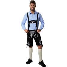 Herren Trachten Lederhose mit Träger Trachten Hose Oktoberfest Wiesn kurz schwar