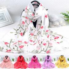 Women Ladies Long Embroidery Cotton Scarf Wrap Lady Shawl Large Chiffon Scarves