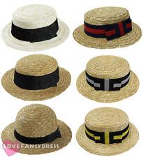 STRAW BOATER HAT 1920S ROWING BOAT BARBER SHOP FANCY DRESS COSTUME ACCESSORY