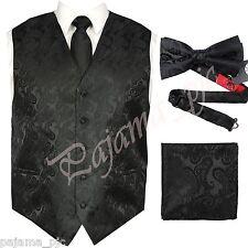 Black XS -6XL Paisley Tuxedo Dress Vest Waistcoat & Neck tie & Bowtie And Hanky