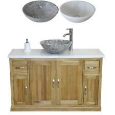 Oak Bathroom Single Vanity Unit 123cm Wide with White Marble Top & Marble Basin