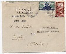 1951 ITALY REPUBBLICA VERDI 60L+LAVORO 25L SU ESPRESSO MODENA FIRENZE A/6828