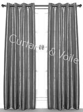 PAIR Curtains SILVER GREY ORANGE GREEN PINK Eyelet Taffeta Faux Silk Unlined