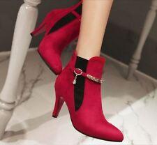 stivali stivaletti stiletto scarpe donna 8 cm rosso comodi simil pelle 8763