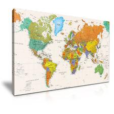 Mapa del mundo lienzo enmarcado impresión Pared Arte Habitación Deco ~ más tamaño