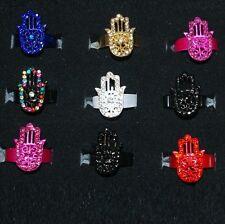 woman ring Hamsa metal + RHINESTONE size ADJUSTABLE color choice
