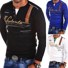 G.B.D. Herren 2in1 V-Pullover Longsleeve Sweatshirt Schwarz/Weiß/Grau/Blau NEU