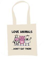 LOVE ANIMALS, DON'T EAT THEM TOTE  SHOULDER BAG  - Vegetarian Vegan Veggie