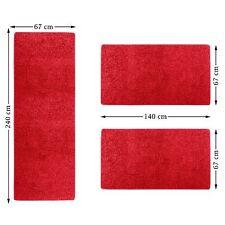 Feine Bettumrandung Sphinx 3-teilig Shaggy Teppich Läufer Langflor Farbe rot