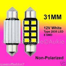 2 x 12V LED 31MM Festoon Interior Car Auto 8 SMD Light Bulb White Dome Lamp