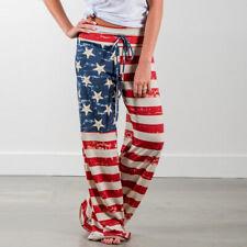 2017 Loose Casual Long Trousers Pants American Flag Drawstring Wide Leg Legging
