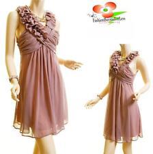 Victorian Pink Sleeveless Ruffle Layer Pleated Faux Silk Chiffon Cocktail Dress