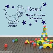 Dinosaur  wall art  girls boys bedroom sticker  personalised any name Nursery