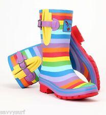 Evercreatures Ladies Wellies Festival Rainbow Designer Mid-Calf Wellington Boot
