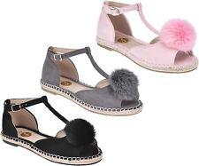 Womens ladies peep toe T-bar espardrilles pumps summer flat pom sandals shoes