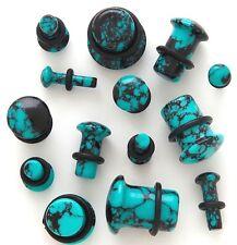 1 Pair Organic Stone Single Flare Ear Plugs Gauges Blue Teal Agate Pick Size 839