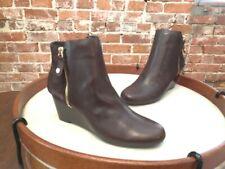 Isaac Mizrahi Dark Brown Leather & Suede Kierra Wedge Ankle Boots NEW