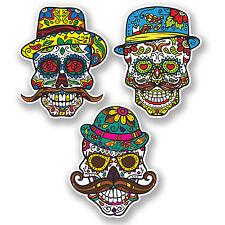 3 x Sugar Skull Vinyl Sticker Decal iPad Laptop Moustache Hipster Gift Fun #4738