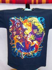 Marvel Avengers SHIRT Sparkly Hulk Ironman Spiderman Gallery BLUE Glitter NWT