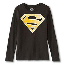 New! Superman Logo Girls T-Shirt Black